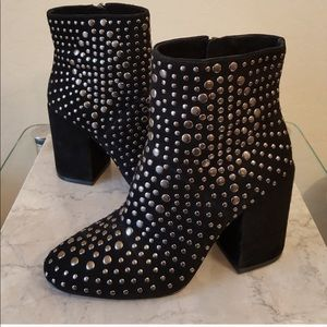 Vince Camuto Drista Black Suede Studded Booties